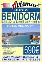 Viaje a Benidorm - Hotel Melina en Junio - 15 días